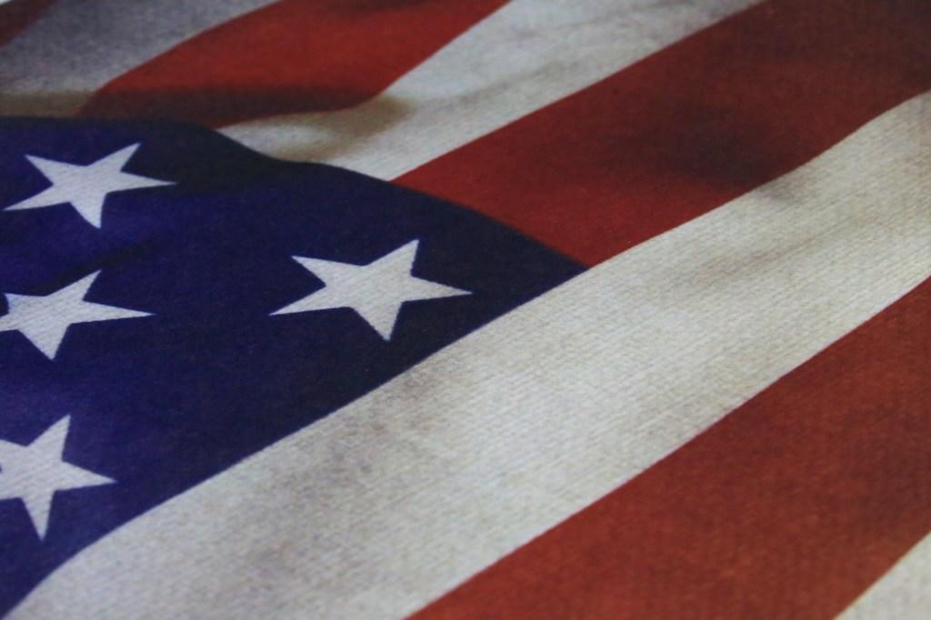 Close-up of a USA flag