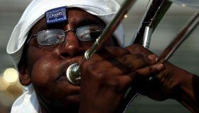 08/28/2004 Trombonist Brian Doyle, a Howard U. sophmore, pra