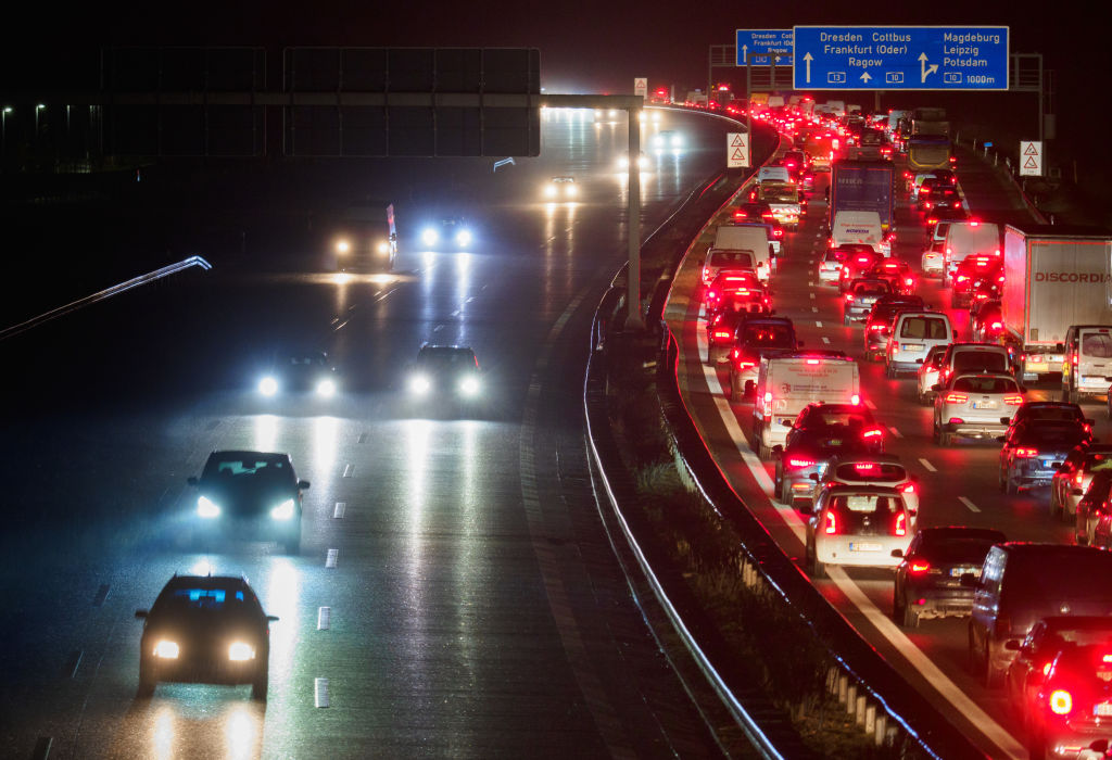 Motorway - traffic jam after accident