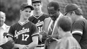Hank Aaron Visits High School Baseball Team On A Visit To Berks County Pennsylvania